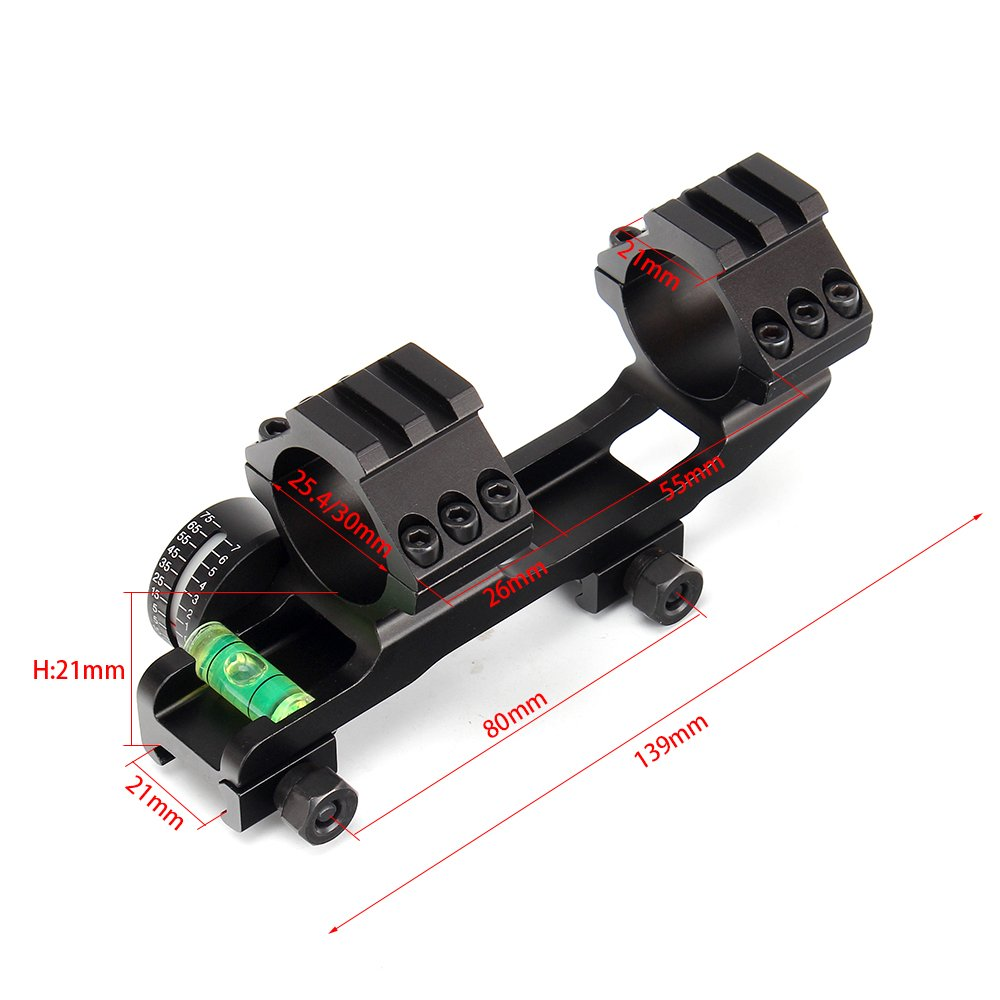ohhunt 25.4mm 30mm Offset Bi-Direction Scope Rings Mount w//Angle Cosine Indicator Kit and BUBB Level Compass Hight Profit