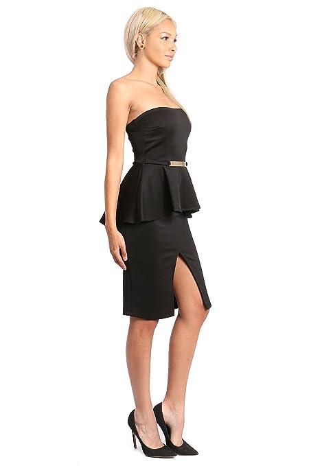 9ad4415c3da Women Tube Top Slit Skirt Bodycon Peplum Dress With Golden Bar Belt - Black  -  Amazon.co.uk  Clothing