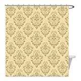 Liguo88 Custom Waterproof Bathroom Shower Curtain Polyester Beige Decor Regular Damask Patterns Islamic Antique Lace Floral Patterns Oriental Style Decorative Art Decor Beige Decorative bathroom