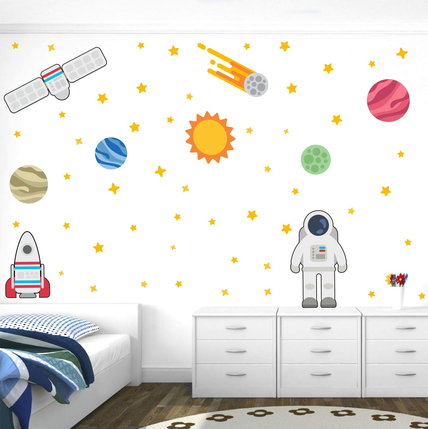 Stickme Space Galaxy Baby Kids Learning Education Nursery Pre School Kinder Garden Wall Sticker Sm493 Multi Colour Vinyl 100cm X 100 Cm Amazon In Home Kitchen
