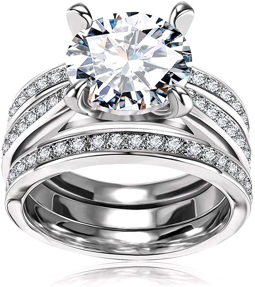 Amazon Com Cubic Zirconia Bridal Set Big Round Cz White Gold