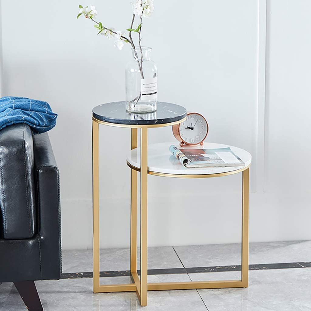 Amazon Com Side Table Marble 2 Layer Sofa Coffee Table Modern Light Luxury Wrought Iron Bracket Stainless Steel Table Legs Environmentally Friendly Spray Paint 51 60cm Garden Outdoor