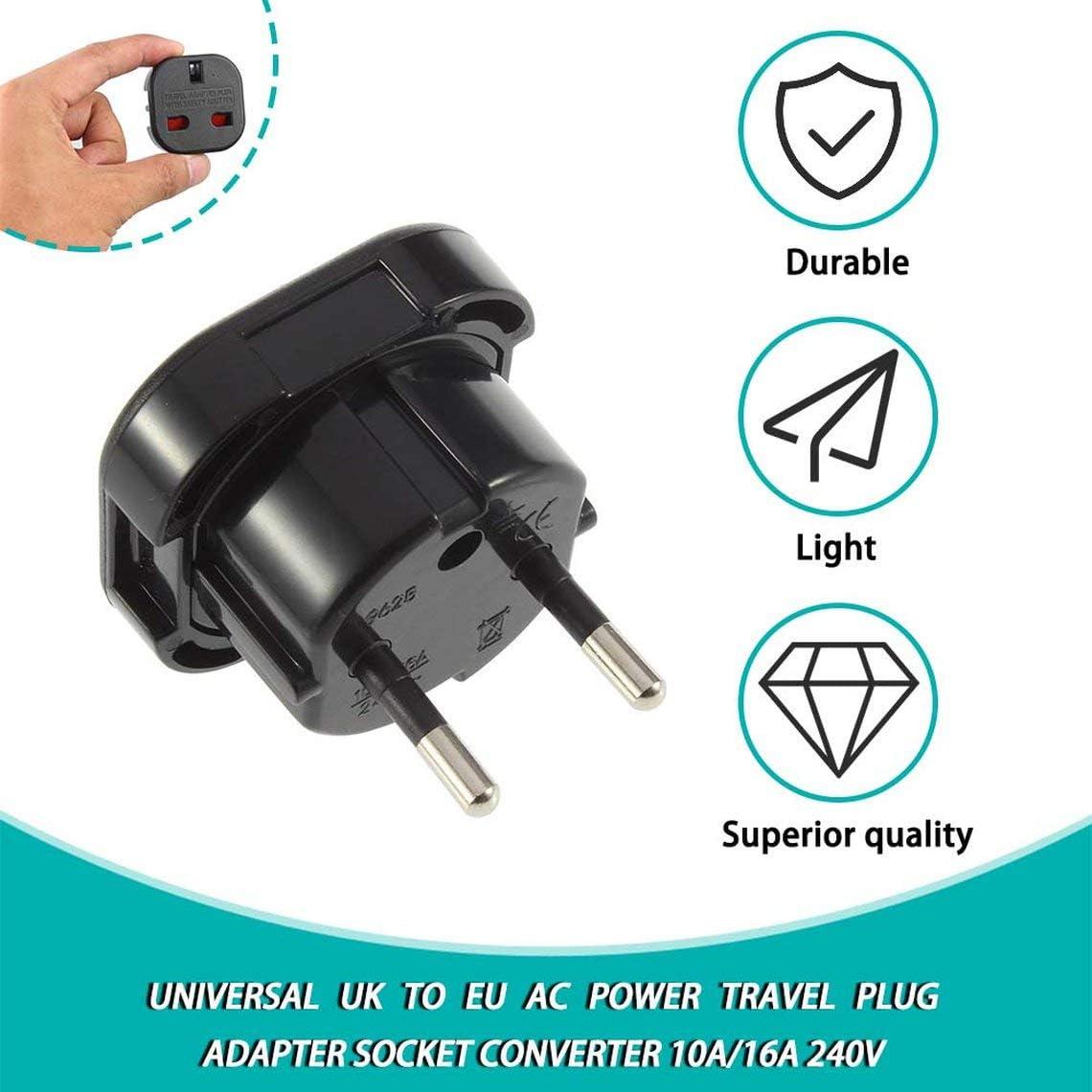 Reino Unido a UE 240 V Zinniaya Port/átil Adaptador Convertidor Negro Viaje 10 A // 16 A Enchufe Enchufe Corriente de CA Universal Travel Pared