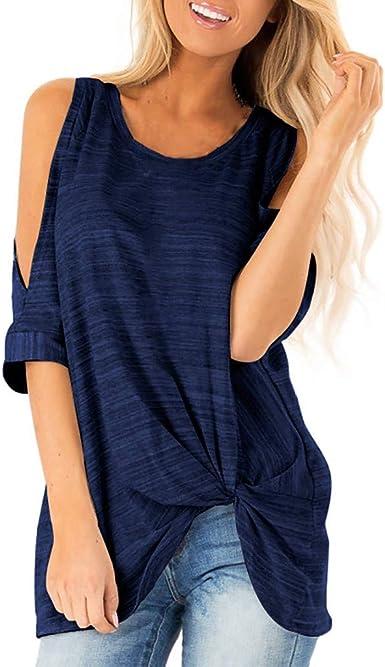 LUNULE VENMO Blusas Mujer Elegante Camisas Mujer Verano Blusa de Hombro Frío Camisas Tops de Batwing Manga Casual Camisetas sin Mangas Casual Camiseta para Mujer: Amazon.es: Ropa y accesorios
