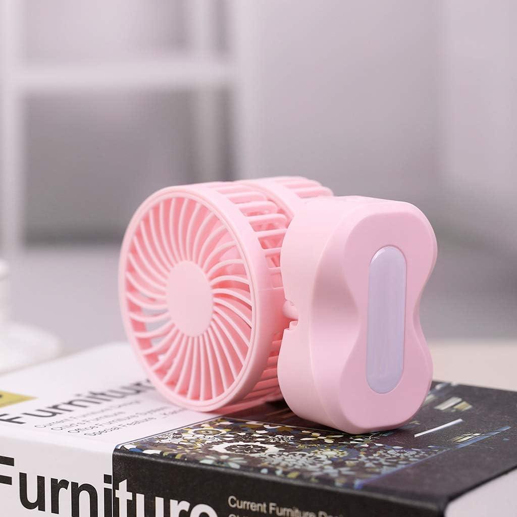 Hhxiao USB Double-Headed Couple Small Fan Rechargeable Student Dormitory Office Desktop Silent Fan//Pink Fan