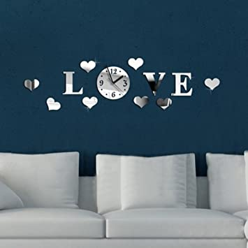 Amazoncom LINGS SHOP Acrylic 3D Mirror Effect LOVE Decal Wall
