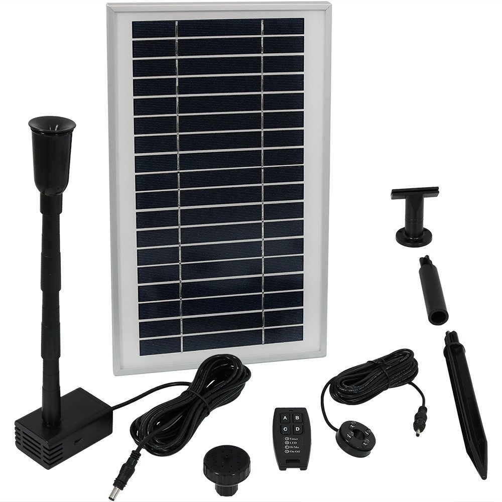 Sunnydaze Solar Powered Water Pump and Panel Kit with Battery Pack and Remote Control, Use for Outdoor Water Fountain, Bird Bath, or Pond, 105 GPH, 55-Inch Lift