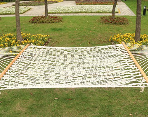 Double Polyester Rope - Best Sunshine Cotton Rope Hammock with Double Size Spreader Bars for Outdoor Camping Garden Patio Beach Yard, Hanging Portable Hammock and Carrying Case, 450lbs Capacity, White