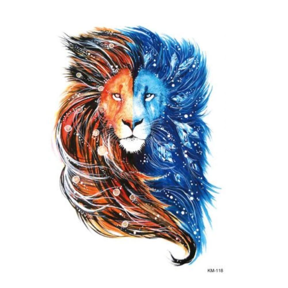 Justfox – Tatuaje temporal, diseño de león, color rojo y azul ...
