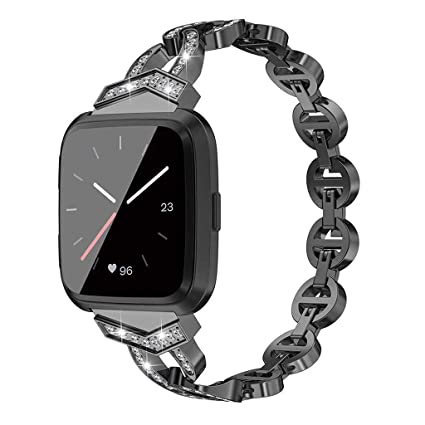 Amazon.com: HowLoo Watch Band for Replacement Crystal Metal Strap Wrist Strap for Fitbit Versa Banda de reloj inteligente (Black): Car Electronics