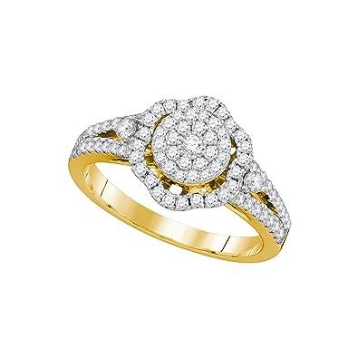 Ladies 14k yellow gold flower diamond cluster wedding engagement ladies 14k yellow gold flower diamond cluster wedding engagement ring 58 ct mightylinksfo