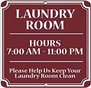 """Laundry Room Hours 7:00 Am 11:00 Pm Keep Clean Business Vinyl Sticker Decal 8"""""""
