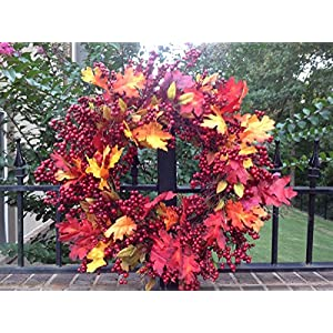 "Flora Decor Fall Mix Crimson Red Berry Wreath - 24"" 12"