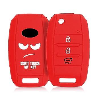 kwmobile Funda para Llave de 3-4 Botones para Coche Kia - Carcasa Protectora [Suave] de [Silicona] - Case de Mando de Auto con diseño Dont Touch my ...