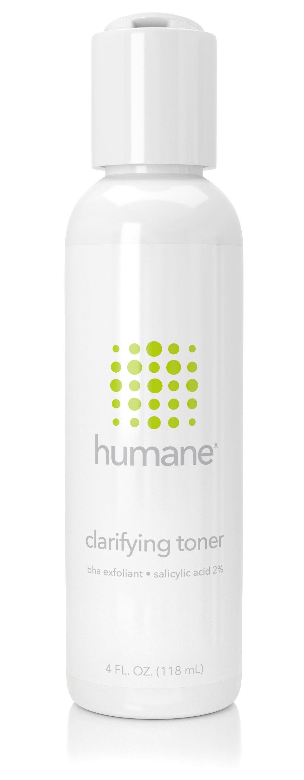 Humane Clarifying Toner BHA Salicylic Acid 2% Pore Minimizer & Facial Exfoliant, 4 Ounce by humane