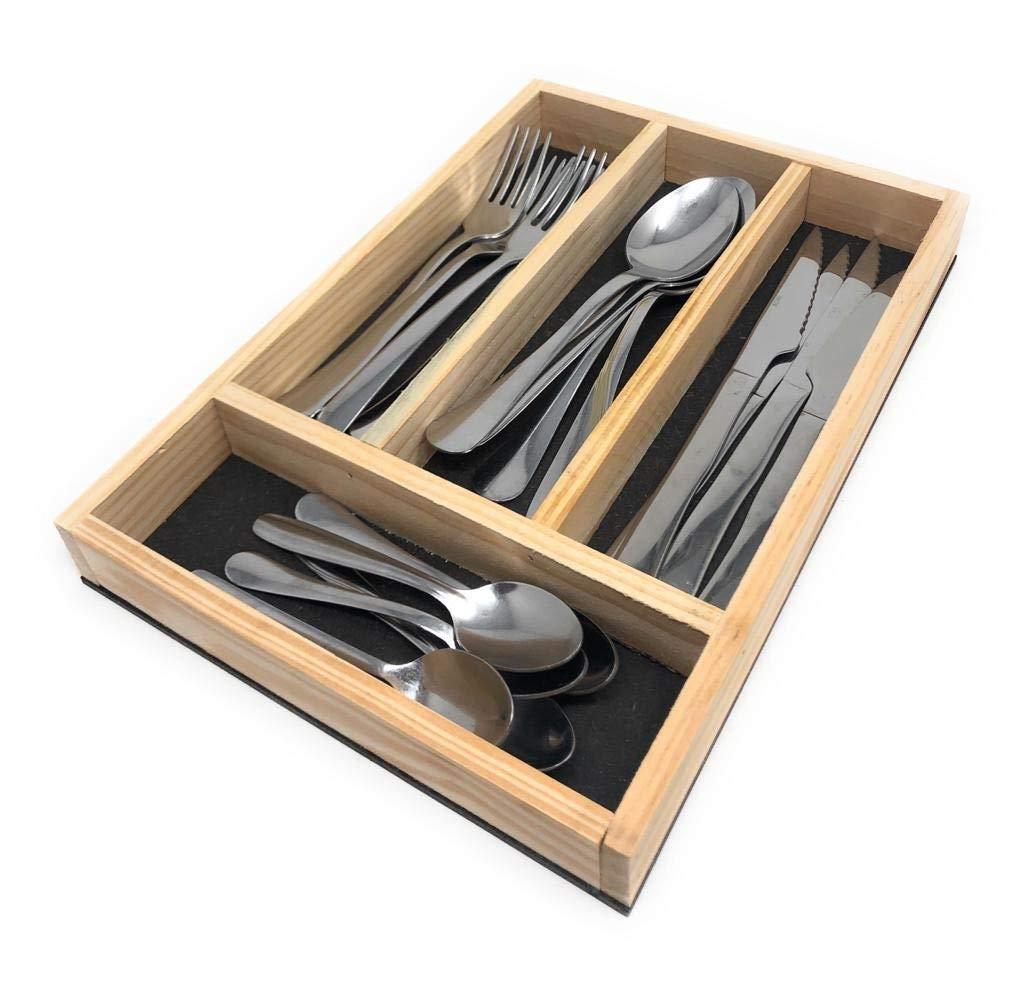 Bandeja para Cuberter/ía 32 x 22 x 3,5 cm 4 Compartimentos Divisor Cajones de Cocina Space Home Madera Organizador de Cubiertos