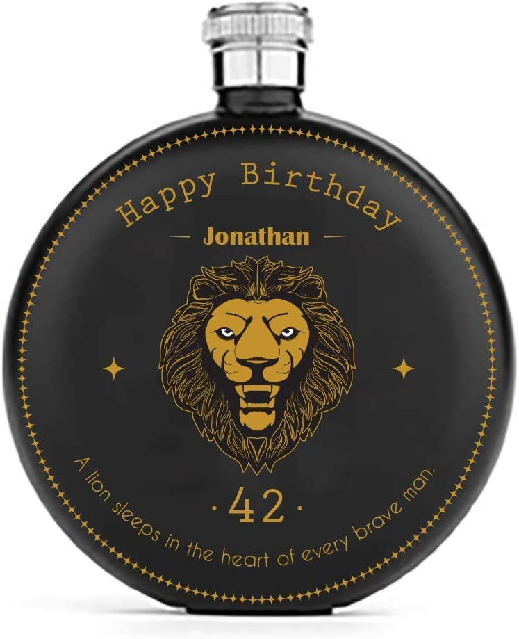 Personalised Birthday Black Steel Hip Flask for Men Engraved//Gold//Lion Zodiac//Round//5 Ounces//9 x 10.5 x 3 Centimeter