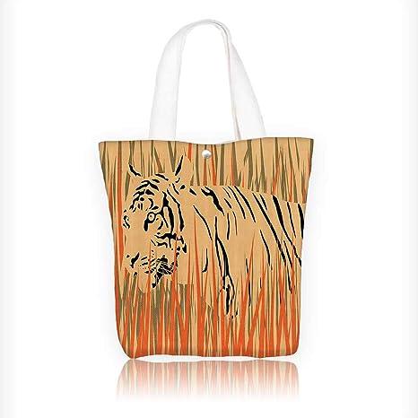 3733d581f7e Women's Canvas Tote Handbags ouflage Carnivore Predator Feline Africa  Animal Peach Orange Casual Top Handle Bag