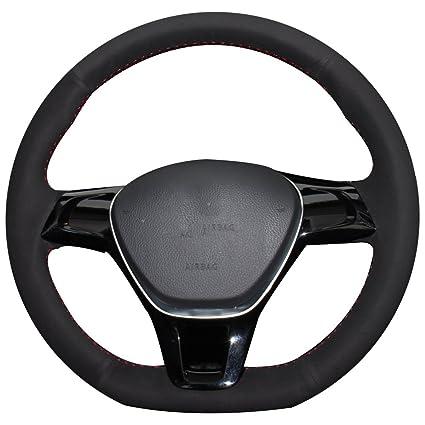 Costura a mano Xuji negro ante funda para volante de coche para ...