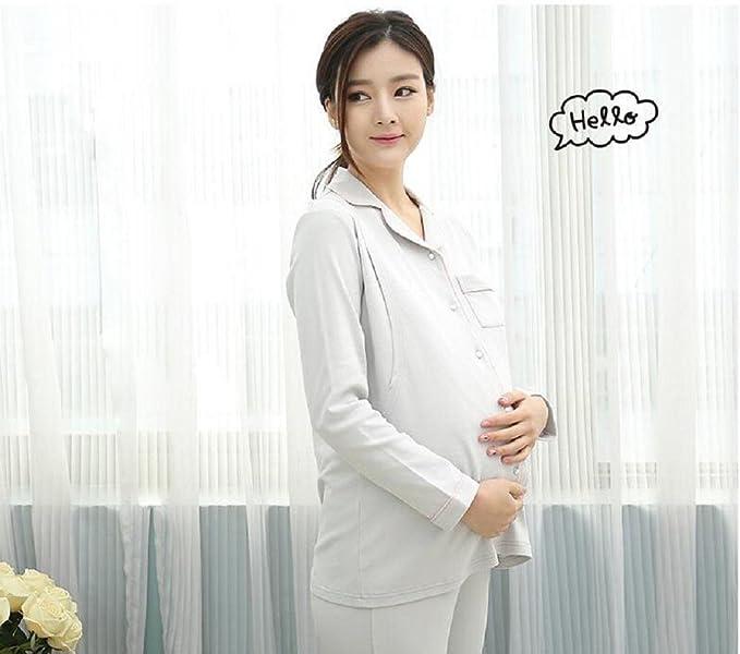 ldmb primavera y otoño pijama de maternidad plena - algodón pijama Maternal posparto Enfermería mama - alimentación en casa y fuera Set, gris, ...