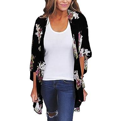 38520b153e7 Sixcup Women s Long Floral Kimono Cardigan Long Blouse Sheer Shirt Loose  Tops Swimwear Chiffon Shawl Kimono