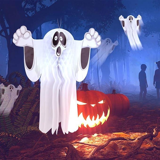 JOYIN 3 Packs Halloween Outdoor Ghost LED Light up Lantern Party Decor for Halloween Halloween-Themed Party Decorations Outdoor Decoration