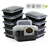 {10 Pack} Microwave And Dishwasher Safe Stackable Meal Prep Plastic Food Containers with Lid/Divided Plate/Bento Box/Lunch Tray (1 Compartment 22x15x5xcm, Black )