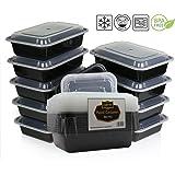 Mikrowelle und spülmaschinenfest stapelbar Mahlzeit Prep Kunststoff Lebensmittel Behälter mit Deckel geteiltem Bento Box Lunch Tablett, plastik, schwarz (1 Compartment Schwarz 10 Stück mit Deckel)