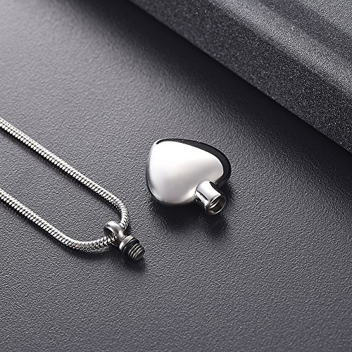 Cremation Jewelry for Human Ashe - Urn Neckalce for Dog's Ashes Free Engrave Ashes Holder Stainlee Steel Ashes Locket for Memorial Keeps Ashes Best Funeral Keepsake (Silver - Dad) by Minicremation (Image #1)