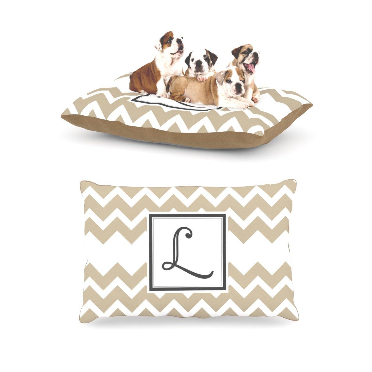 L Large 30  x 40 Kess InHouse Chevron Tan Fleece Dog Bed, 30 by 40Inch, Monogram LetterH