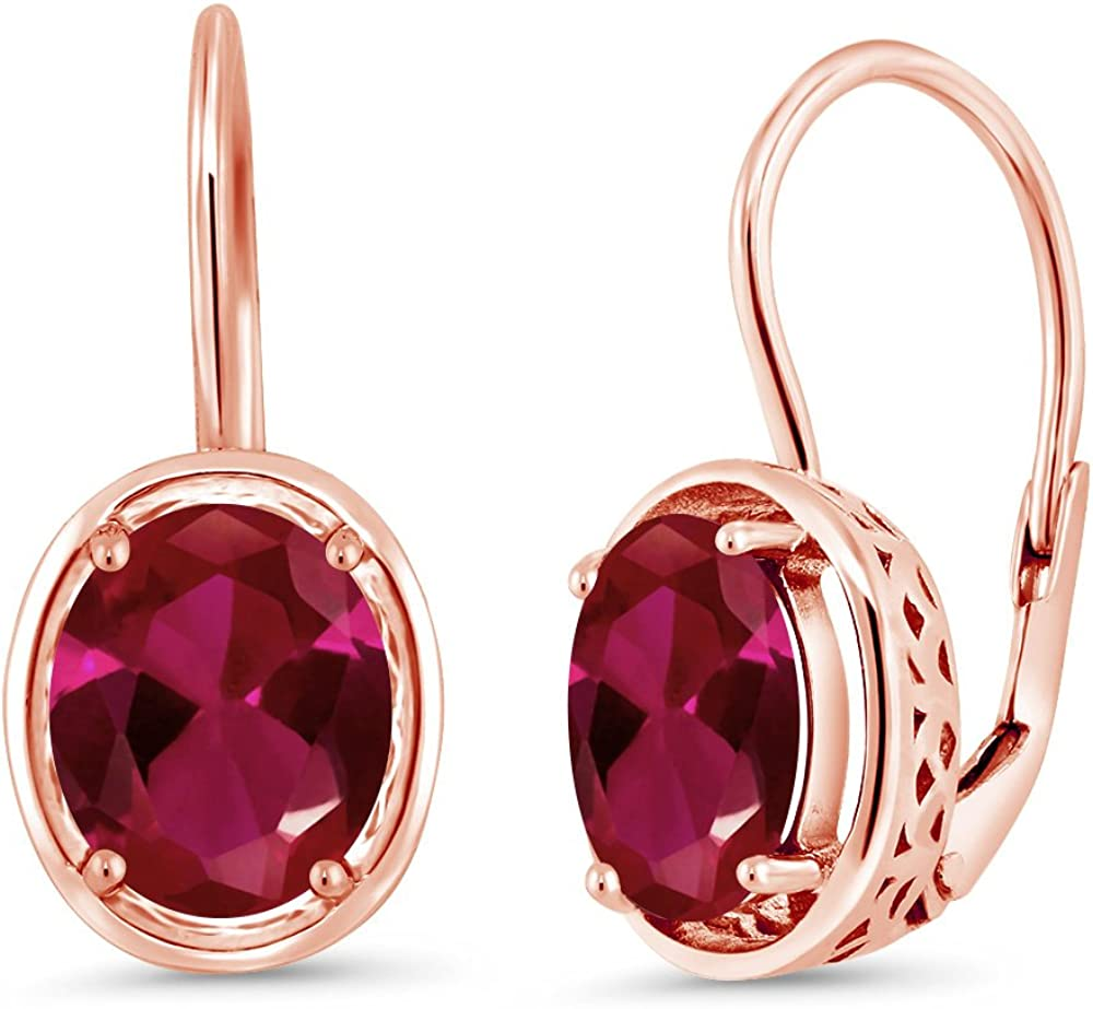 4.00 Ct Oval Red Created Ruby 18K Rose Gold Plated Silver Dangle Earrings