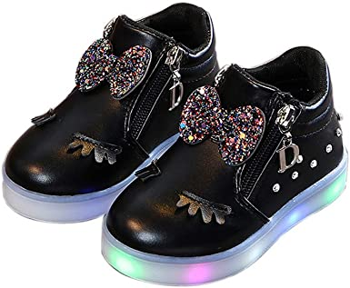 Baby Shoes,Kids Infant Baby Boys Girls Toddler Sport Running Sequins LED Luminous Shoes Sneakers for 12Months-6 T Age:18M-24Months, Black
