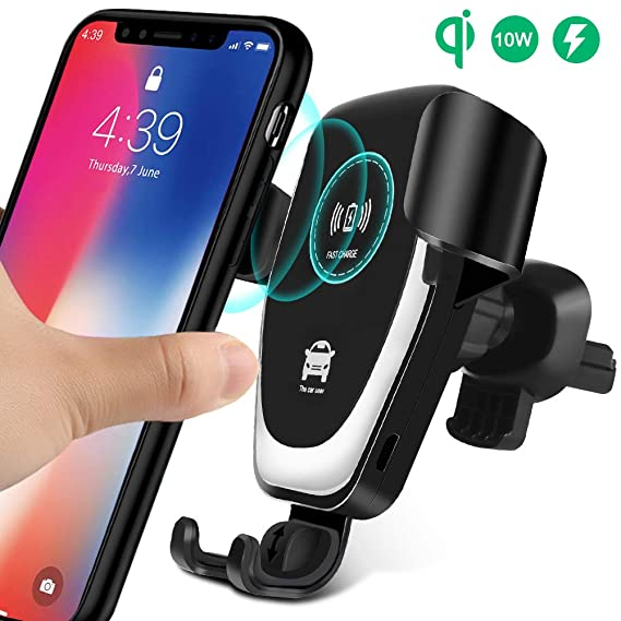 black Wireless Car Charger Mount Infrared sensor vehicle intelligent support,Qi Fast Wireless Charging Air Vent Phone Holder for/  iPhone x//xs//xr//xs max//8//8Plus,Samsung Galaxy s10//s9+//S9//s8+//s8 etc