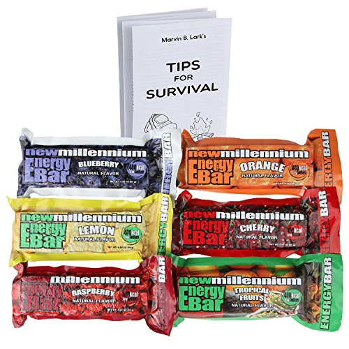 Millennium Assorted Energy Bars (6 Count) - Long Shelf Life Fruit flavored Bar Bundle - Survival Pack for Calamity, Disaster, Hiking and Meal replacement - with Emergency Guide
