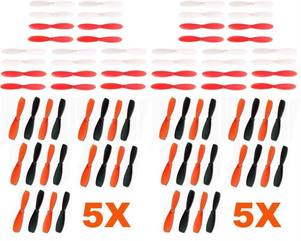 Hubsan X4 H107D+ Plus [QTY: 10] 55mm Ultra Durable Propeller Blades Rotor Props [QTY: 10] Set Main Red and White