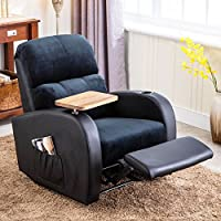 Soges Luxurious Manual Recliner Chair Lounge Sofa Living Room Chair Home Theatre Chair, Black 535