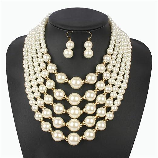 Set de joyería Multi-capa de simulación de perlas cadena de ...