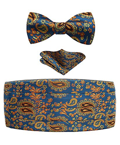 Blue Silk Cummerbunds - Men's Floral Paisley Silk Cummerbund & Self Bowtie & Pocket Square Set Blue Gold