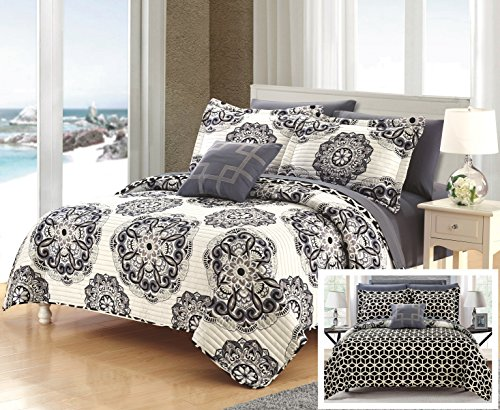 (Perfect Home 4 Piece Madarcos Super soft microfiber Printed Medallion REVERSIBLE with Geometric Print King Quilt Set Navy)