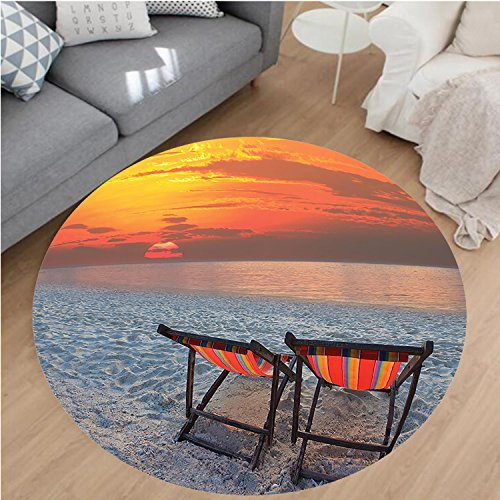 Nalahome Modern Flannel Microfiber Non-Slip Machine Washable Round Area Rug-es Chairs On Sandy Beach With Colorful Sky Scenery Seaside Nature Picture Orange Red Gray area rugs Home Decor-Round 32