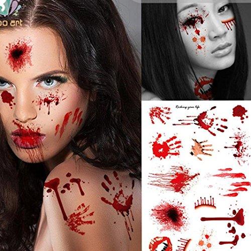 DEESEE(TM) Wound Scab Blood Halloween Scar Tattoos Temporary Tattoos Sticker Decor (Halloween Fake Tattoos)