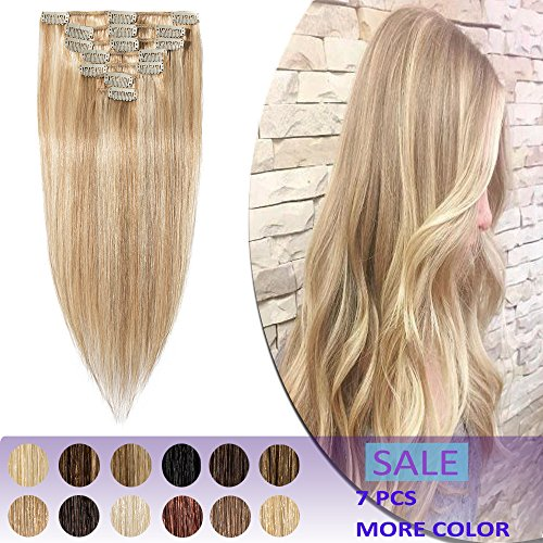 22 Inch Remy Clip in Hair Extensions 7pcs Clip on Human Hair 65-75g Highlight Strong Machine Weft Straight for Women Beauty #18/613 Ash Blonde Mix Bleach Blonde (Remy Human Hair Extensions Clip In Cheap)
