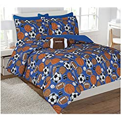 Fancy Collection 6pc Kids/teens Sports Football Basketball Baseball Socer Design Luxury Bed-in-a-bag Comforter Set- Furry Buddy Included - Twin Size