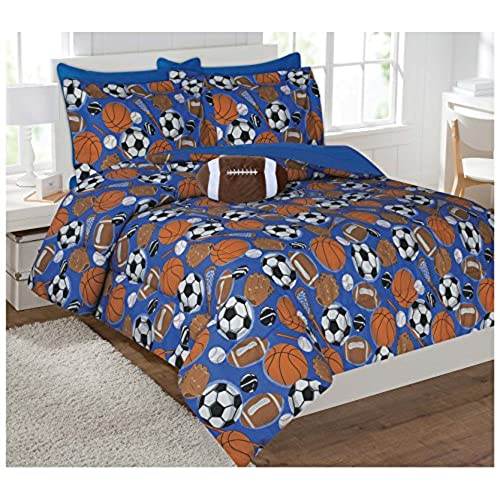 Fancy Collection 6pc Kids Teens Sports Football Basketball Baseball Socer Design Luxury Bed In A Bag Comforter Set Furry Buddy Included