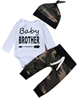 3PCS Newborn Baby Boys Cute Little Brother Romper+Camouflage Pants+Hat Outfits Set