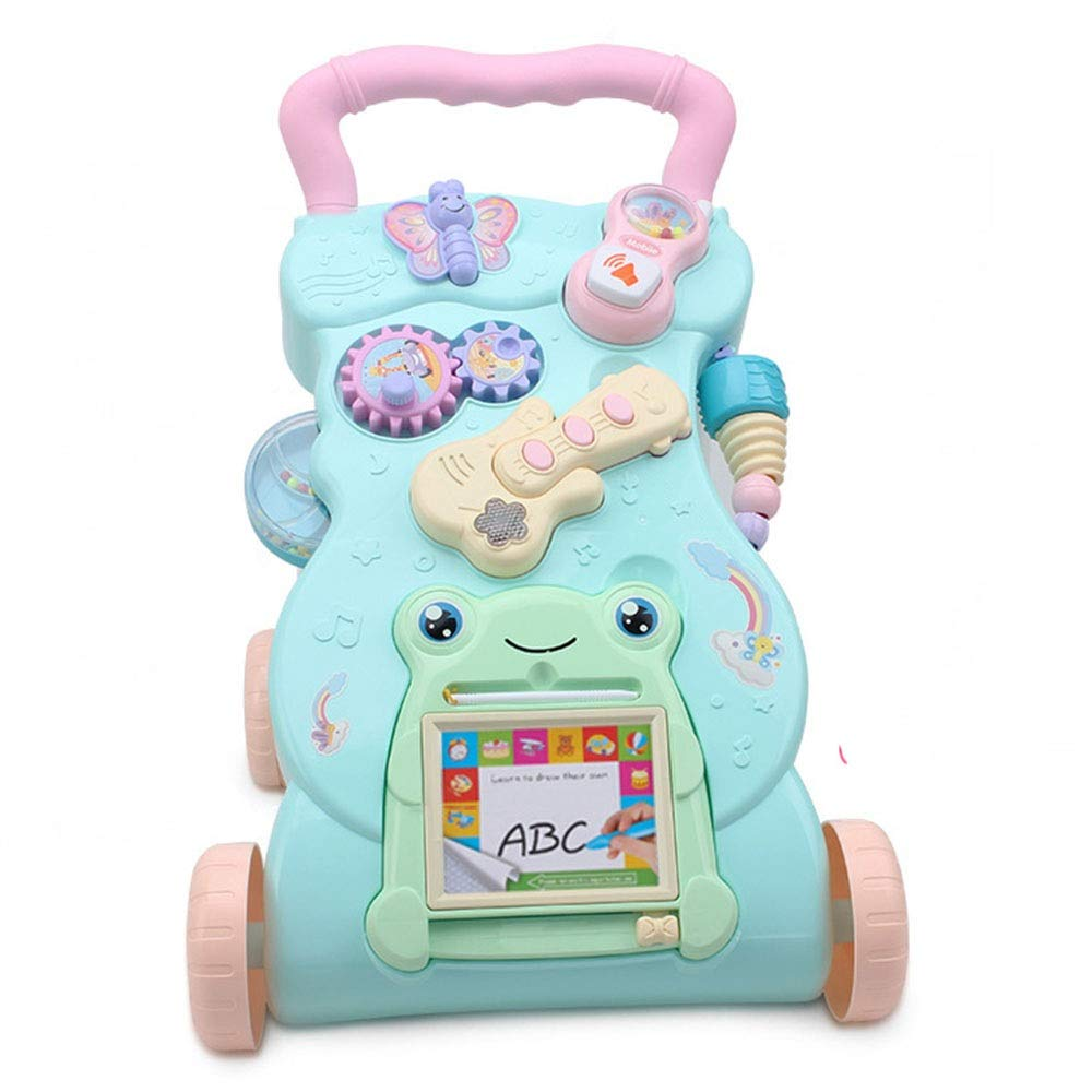 Baby Three-in-one Activity Walker Baby Walker Trolley Early Learning Puzzle Baby Multi-Function Walker with Music Toys (Color : Blue, Size : 434131CM)