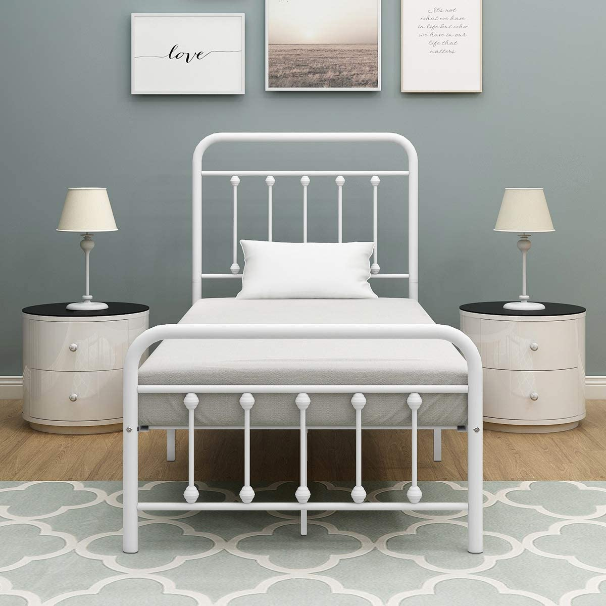 BOFENG Twin Size Metal Bed Platform Frame with Headboard and Footboard Mattress Foundation Heavy Duty Steel Slat Support Box Spring Replacement for Kids Adult Beds White