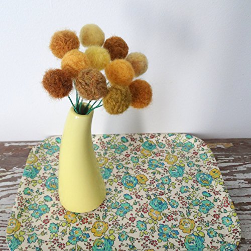 Mustard Yellow Felt flowers. Wool pom pom ball flower. Craspedia, billy balls, billy buttons. Faux flower bouquet. Small yellow flowers.