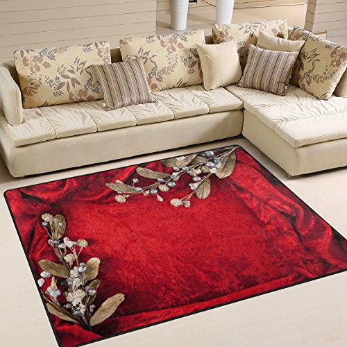 XiangHeFu Soft Doormats 7'x5' (80x58 Inches) Area Rugs Wedding Invitation Card Red Flower Non-Slip Floor Mat Resting for Living Room Bedroom