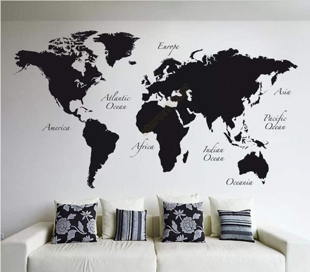 Mapa del mundo grande vinilo tatuajes de pared decoración para el ...